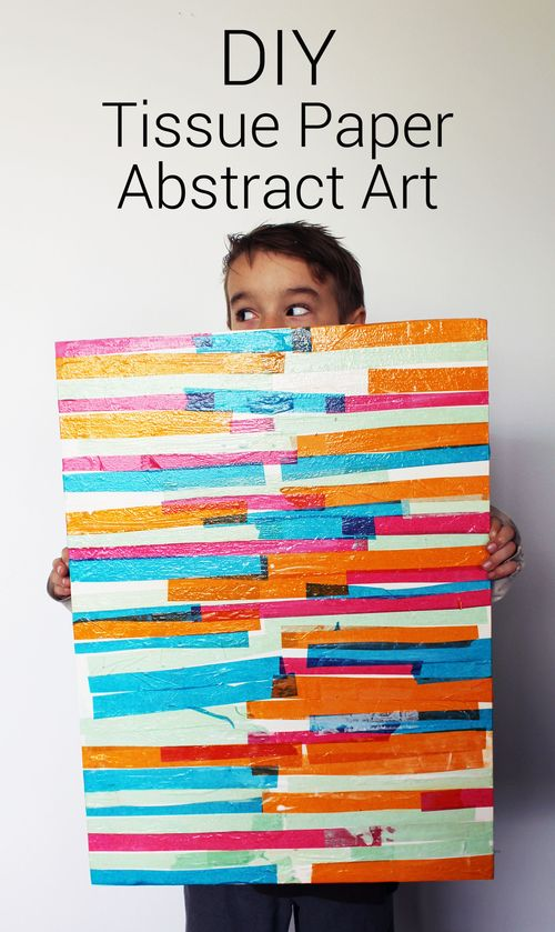 DIY Tissue Paper Abstract Art